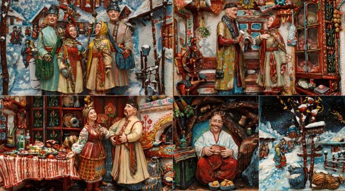 объемная картина, керамическое панно, керамика ручной работы, фигурки из глины, декоративно прикладное искусство, художественная лепка, картины украинского быта, Солоха, Чуб, Вакула, Оксана, Гоголь, колядки, Рождество